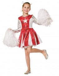 Disfraz animadora rojo y plata niña
