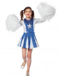 Disfraz animadora azul y plata niña