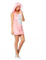 Disfraz vestido conejo rosa de peluche mujer