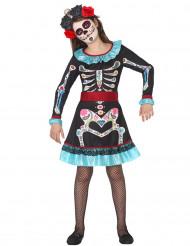 Disfraz esqueleto colorido azul niña Día de los muertos