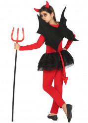 Disfraz de demonio rojo y negro niña Halloween