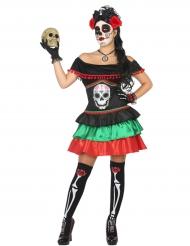 Disfraz de mexicana colorida día de los muertos mujer