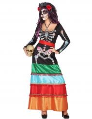 Disfraz largo de mexicana colorida Dia de los muertos mujer