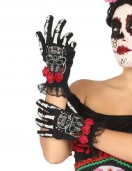 Guantes de esqueleto mexicano Día de los muertos mujer