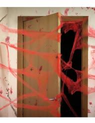 Decoración telaraña roja con arañas 20g Halloween