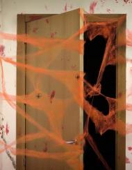 Decoración telaraña naranja con arañas 20 g Halloween