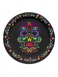 6 Platos negros con calavera colorida 17 cm Día de los muertos
