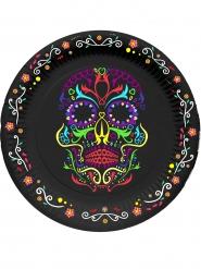 6 Platos negros con calavera colorida 23 cm Día de los muertos