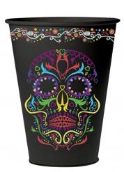 6 Vasos negros con calavera colorida 10cm Día de los muertos