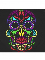 20 servilletas negras con calavera colorida 17 cm Día de los muertos