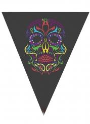 Guirnalda de banderines negros con calavera colorida 190 cm Halloween