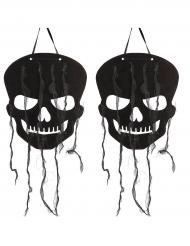 2 decoraciones calaveras negras 63 cm halloween