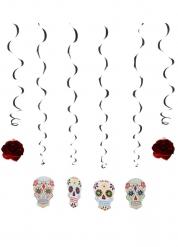 6 Decoraciones calaveras coloridas 120 cm Día de los muertos
