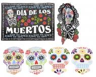 Kit 7 decoraciones calaveras coloridas Día de los muertos