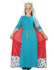 Disfraz de reina medieval azul niña