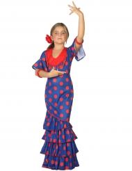 Disfraz flamenco azul y rojo niña