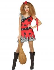 Disfraz prehistoria rojo mujer