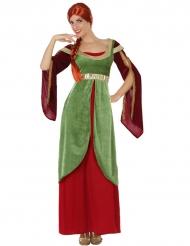 Disfraz dama medieval rojo y verde mujer