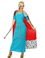 Disfraz reina medieval azul mujer
