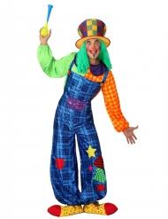 Disfraz de payaso patchwork azul hombre