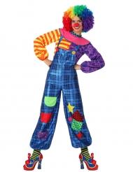 Disfraz de payaso patchwork azul mujer
