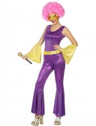Disfraz disco holográfico violeta y dorado mujer