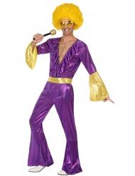 Disfraz disco holográfico violeta y dorado hombre