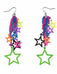 Pendientes estrella multicolor adulto