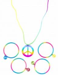 Collar y brazaletes hippie multicolores plático adulto
