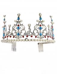 Diadema de princesa metálica plateada con perlas adulto lujo