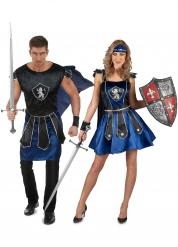 Disfraz de pareja de caballeros azules adultos