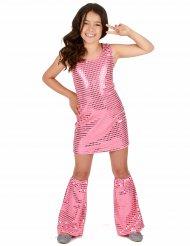 Disfraz disco rosa con lentejuelas niña