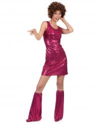 Disfraz disco fucsia con lentejuelas mujer