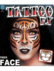 Tatuaje temporal cara tigre adulto