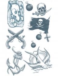 Tatuaje efímero cuerpo pirata adulto