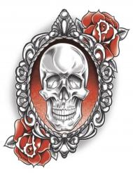Tatuaje efímero calavera con rosas adulto