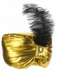 Cofia sultán dorada pluma adulto