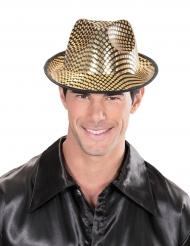 Sombrero borsalino dorado cuadros adulto