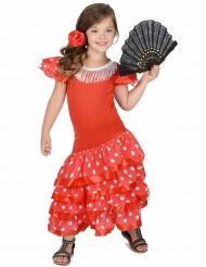 Disfraz Flamenca Rojo a lunares blancos para niña