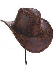 Sombrero cowboy marrón imitación cuero adulto