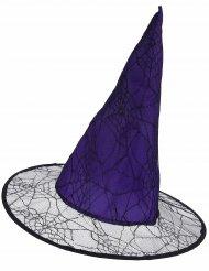 Sombrero bruja violeta telaraña adulto