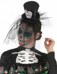 Diadema mini sombrero negro Día de los muertos con velo adulto