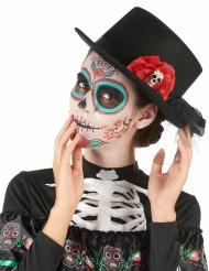Sombrero alto negro calavera flor roja Día de los muertos adulto