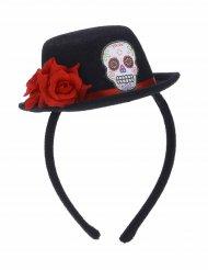 Diadema mini sombrero negro flor roja Día de los muertos adulto