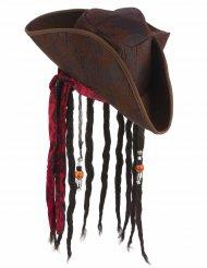 Sombrero pirata marrón con peluca adulto