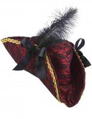 Sombrero pirata rojo con pluma adulto