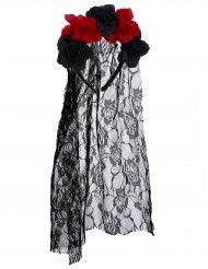 Diadema flores negro y rojo con velo encaje adulto