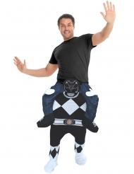 Disfraz hombre a caballito de un Power Rangers™ negro para adulto de Morphsuits™