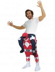 Disfraz hombre a caballito de un Power Rangers™ rojo para adulto de Morphsuits™