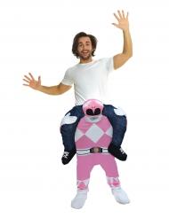 Disfraz hombre a caballito de un Power Rangers™ rosa para adulto de Morphsuits™
